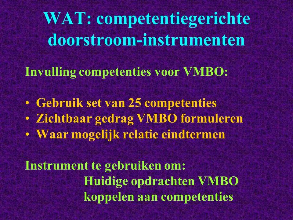 WAT: competentiegerichte doorstroom-instrumenten Invulling competenties voor VMBO: Gebruik set van 25 competenties Zichtbaar gedrag VMBO formuleren Wa