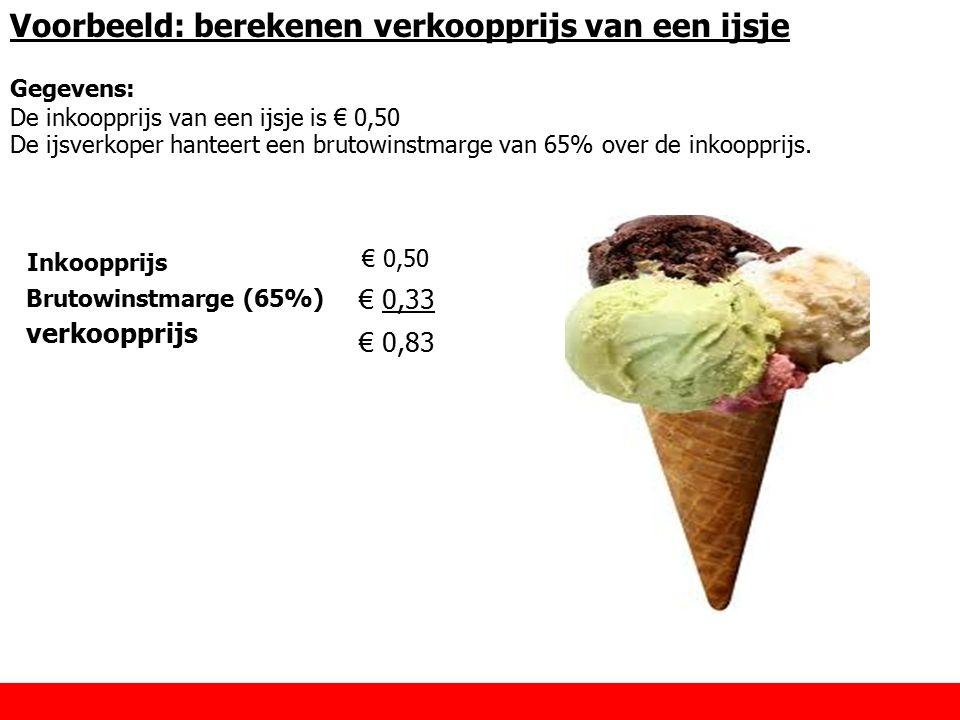 Voorbeeld: berekenen verkoopprijs van een ijsje Inkoopprijs Brutowinstmarge (65%) € 0,33 verkoopprijs € 0,83 € 0,50 Gegevens: De inkoopprijs van een i