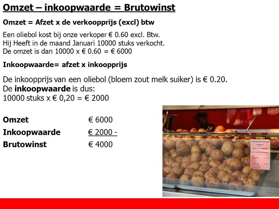 Omzet – inkoopwaarde = Brutowinst Omzet = Afzet x de verkoopprijs (excl) btw Een oliebol kost bij onze verkoper € 0.60 excl. Btw. Hij Heeft in de maan