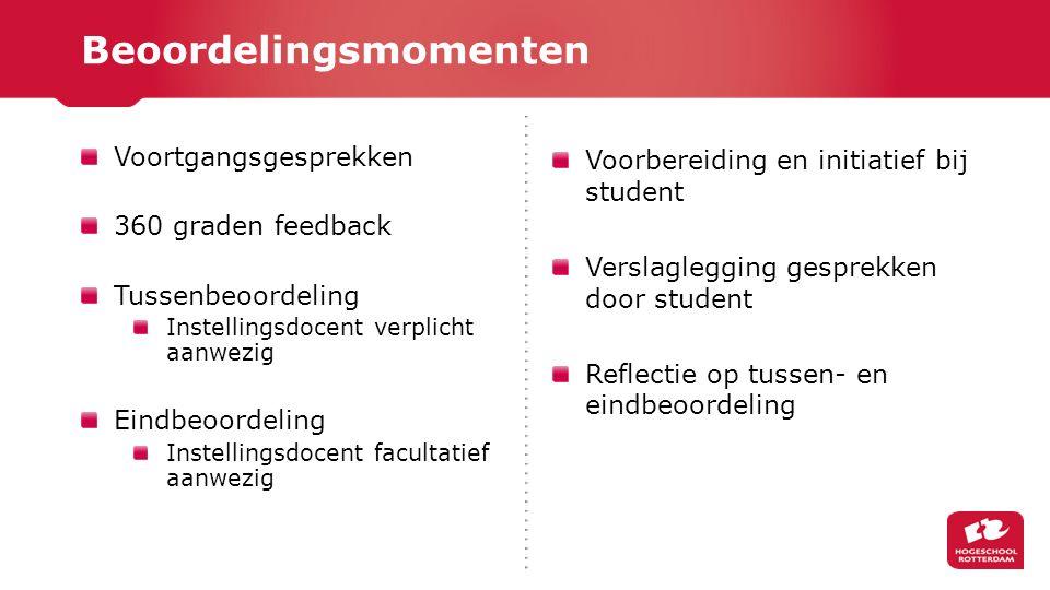 Voortgangsgesprekken 360 graden feedback Tussenbeoordeling Instellingsdocent verplicht aanwezig Eindbeoordeling Instellingsdocent facultatief aanwezig