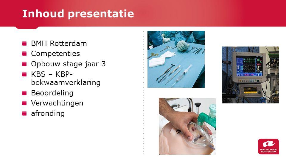 BMH Rotterdam Competenties Opbouw stage jaar 3 KBS – KBP- bekwaamverklaring Beoordeling Verwachtingen afronding Inhoud presentatie