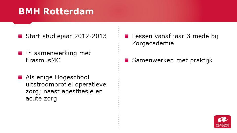 Start studiejaar 2012-2013 In samenwerking met ErasmusMC Als enige Hogeschool uitstroomprofiel operatieve zorg; naast anesthesie en acute zorg Lessen