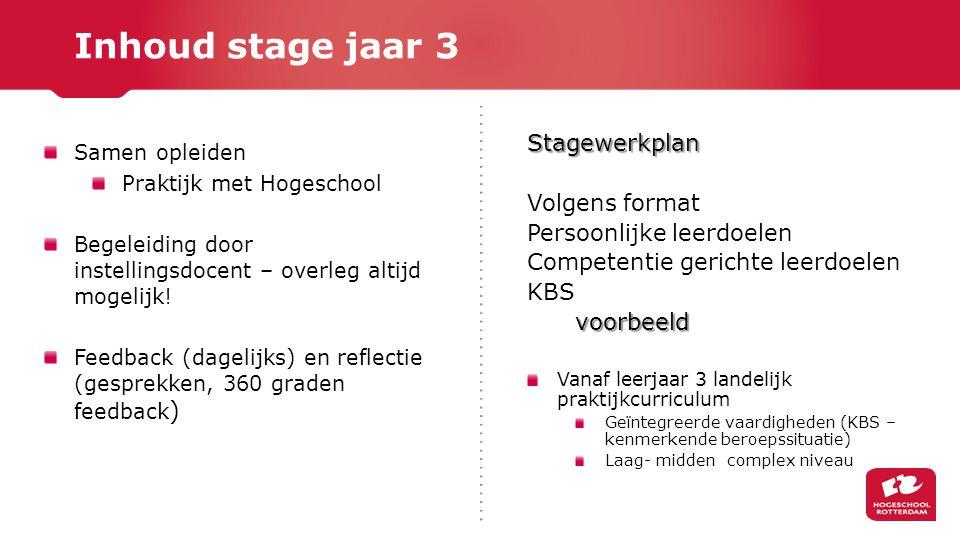 Stagewerkplan Volgens format Persoonlijke leerdoelen Competentie gerichte leerdoelen KBSvoorbeeld Vanaf leerjaar 3 landelijk praktijkcurriculum Geïnte