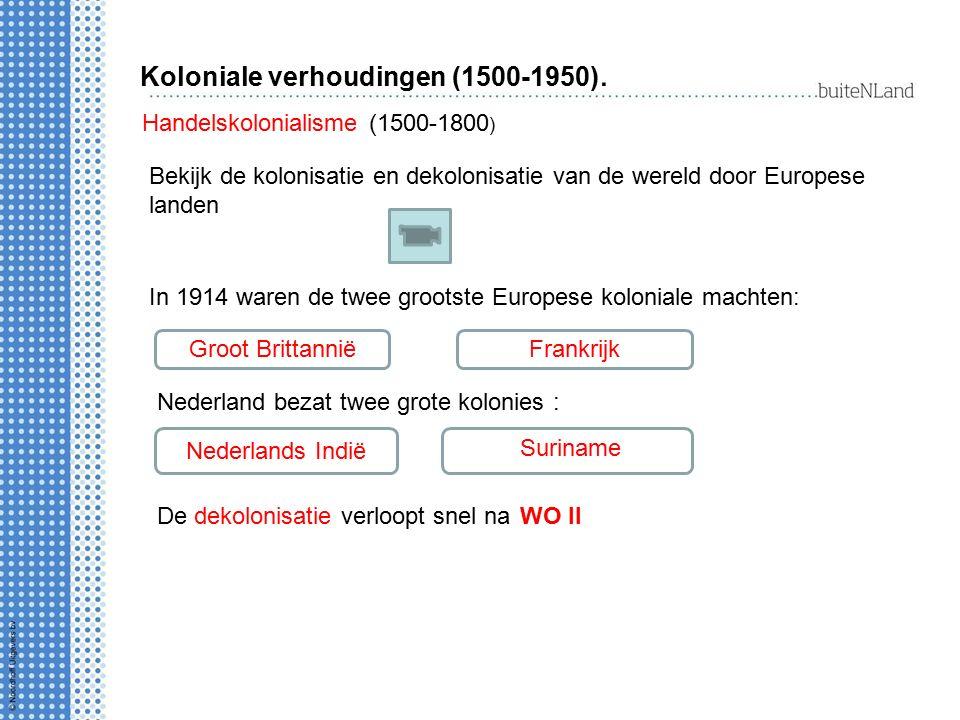 Koloniale verhoudingen (1500-1950). Handelskolonialisme (1500-1800 ) Bekijk de kolonisatie en dekolonisatie van de wereld door Europese landen In 1914
