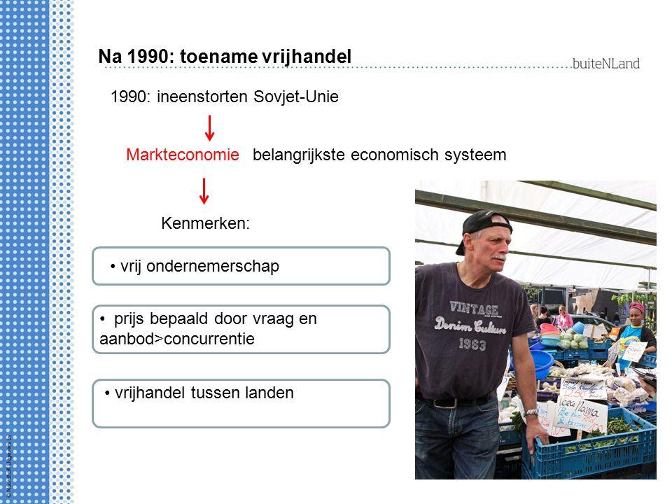 Na 1990: toename vrijhandel 1990: ineenstorten Sovjet-Unie belangrijkste economisch systeem Kenmerken: vrij ondernemerschap prijs bepaald door vraag e