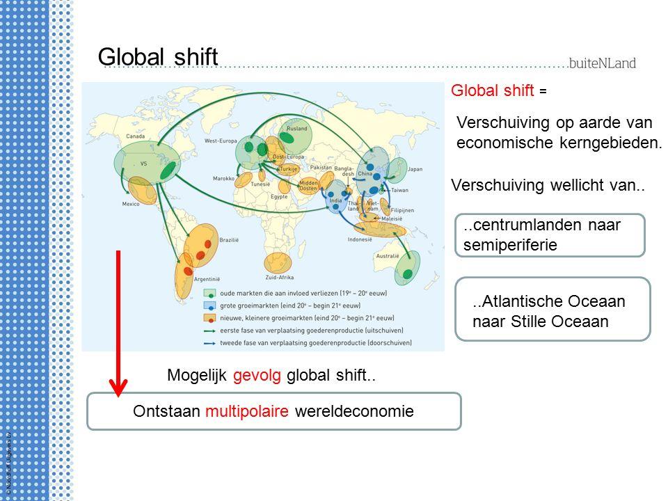 Global shift Global shift = Verschuiving op aarde van economische kerngebieden. Verschuiving wellicht van....centrumlanden naar semiperiferie..Atlanti