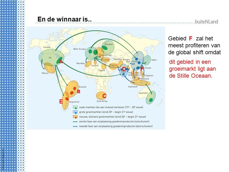 En de winnaar is.. Gebied zal het meest profiteren van de global shift omdat A D C B E F F dit gebied in een groeimarkt ligt aan de Stille Oceaan.