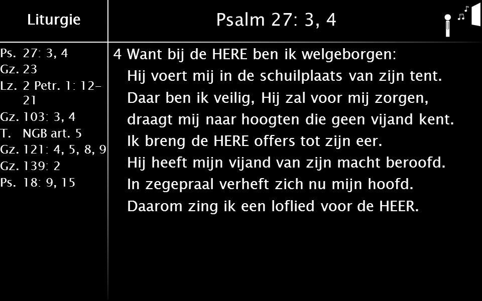 Liturgie Ps.27: 3, 4 Gz.23 Lz.2 Petr. 1: 12- 21 Gz.103: 3, 4 T.NGB art. 5 Gz.121: 4, 5, 8, 9 Gz.139: 2 Ps.18: 9, 15 Liturgie Psalm 27: 3, 4 4Want bij
