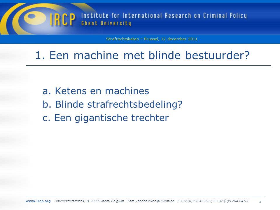 www.ircp.org Universiteitstraat 4, B-9000 Ghent, Belgium Tom.VanderBeken@UGent.be T +32 (0)9 264 69 39, F +32 (0)9 264 84 93 Strafrechtsketen – Brussel, 12 december 2011 14 a.