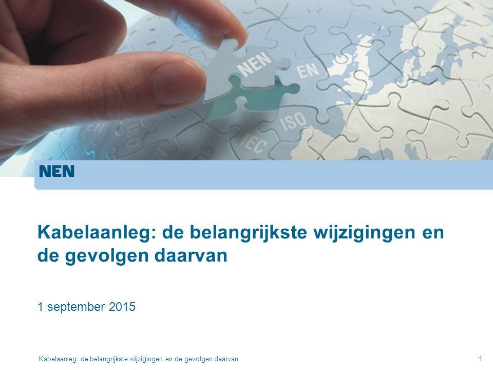 Kabelaanleg: de belangrijkste wijzigingen en de gevolgen daarvan 1 september 2015 Kabelaanleg: de belangrijkste wijzigingen en de gevolgen daarvan1