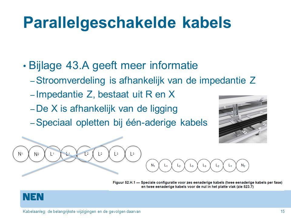 Parallelgeschakelde kabels Bijlage 43.A geeft meer informatie – Stroomverdeling is afhankelijk van de impedantie Z – Impedantie Z, bestaat uit R en X