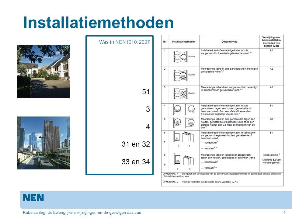 Installatiemethoden Kabelaanleg: de belangrijkste wijzigingen en de gevolgen daarvan4 Was in NEN1010: 2007 51 3 4 31 en 32 33 en 34