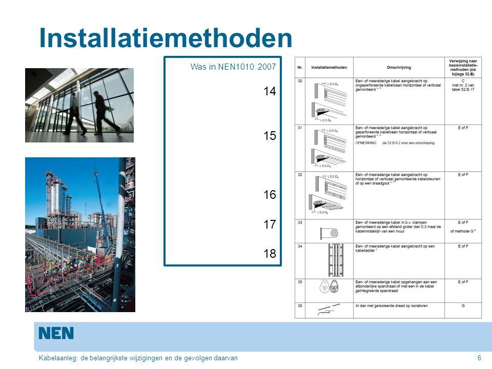 Installatiemethoden Kabelaanleg: de belangrijkste wijzigingen en de gevolgen daarvan6 Was in NEN1010: 2007 14 15 16 17 18