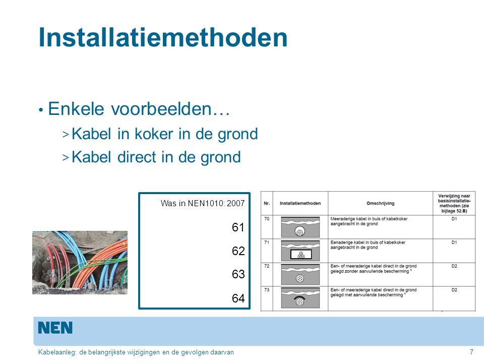 Installatiemethoden Enkele voorbeelden… > Kabel in koker in de grond > Kabel direct in de grond Kabelaanleg: de belangrijkste wijzigingen en de gevolg
