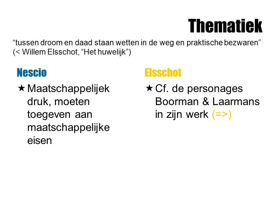 Thematiek Nescio  Maatschappelijek druk, moeten toegeven aan maatschappelijke eisen Elsschot  Cf. de personages Boorman & Laarmans in zijn werk (=>)