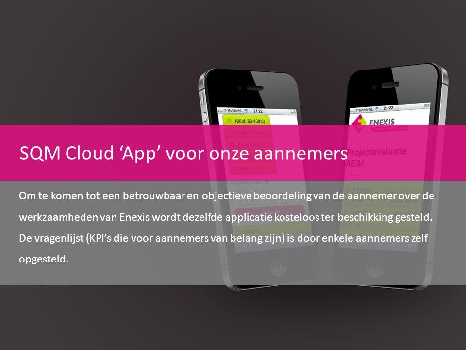 SQM Cloud 'App' voor onze aannemers Om te komen tot een betrouwbaar en objectieve beoordeling van de aannemer over de werkzaamheden van Enexis wordt d