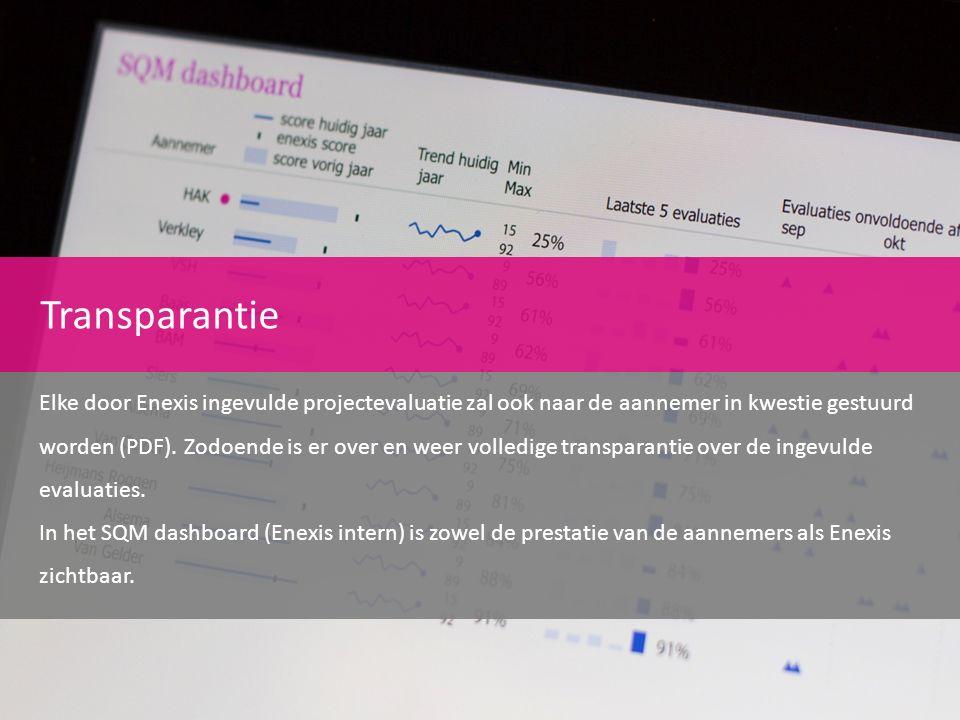 Transparantie Elke door Enexis ingevulde projectevaluatie zal ook naar de aannemer in kwestie gestuurd worden (PDF). Zodoende is er over en weer volle
