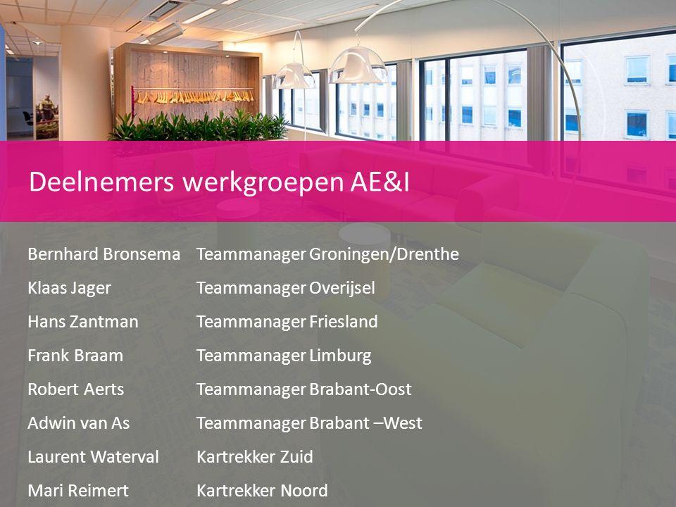 Deelnemers werkgroepen AE&I Bernhard Bronsema Teammanager Groningen/Drenthe Klaas JagerTeammanager Overijsel Hans Zantman Teammanager Friesland Frank