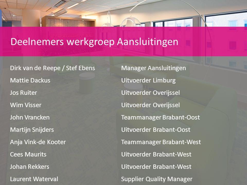 Deelnemers werkgroep Aansluitingen Dirk van de Reepe / Stef EbensManager Aansluitingen Mattie DackusUitvoerder Limburg Jos RuiterUitvoerder Overijssel
