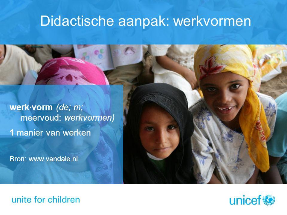 Didactische aanpak: werkvormen werk·vorm (de; m; meervoud: werkvormen) 1 manier van werken Bron: www.vandale.nl