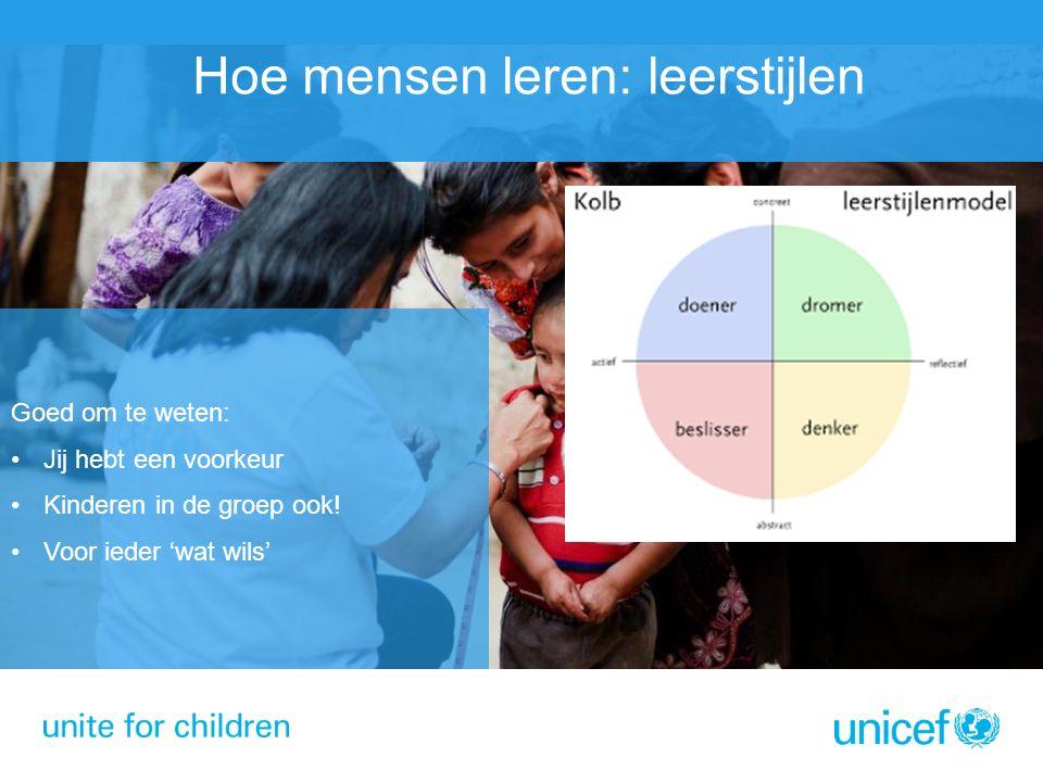 Hoe mensen leren: leerstijlen Goed om te weten: Jij hebt een voorkeur Kinderen in de groep ook.