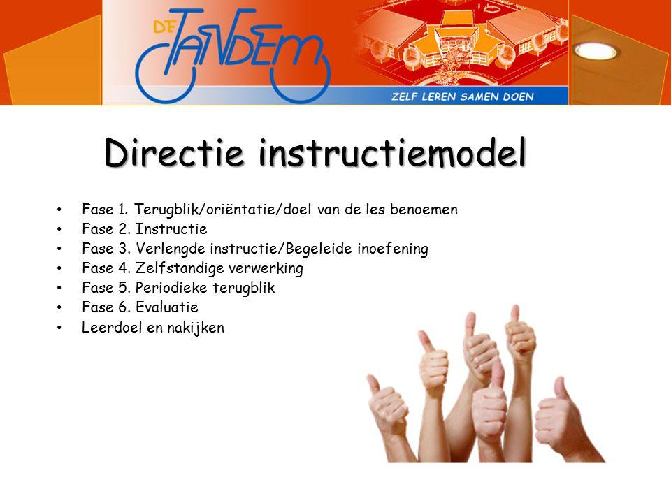 Directie instructiemodel Fase 1. Terugblik/oriëntatie/doel van de les benoemen Fase 2.