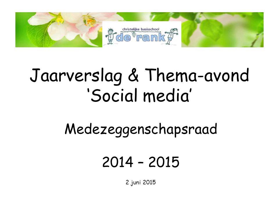 Agenda MR Jaarverslag Thema 'Social media' Pauze Vervolg 'Social media' MR
