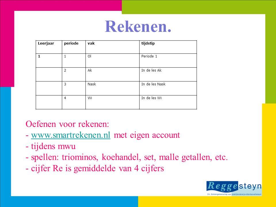 Oefenen voor rekenen: - www.smartrekenen.nl met eigen accountwww.smartrekenen.nl - tijdens mwu - spellen: triominos, koehandel, set, malle getallen, e