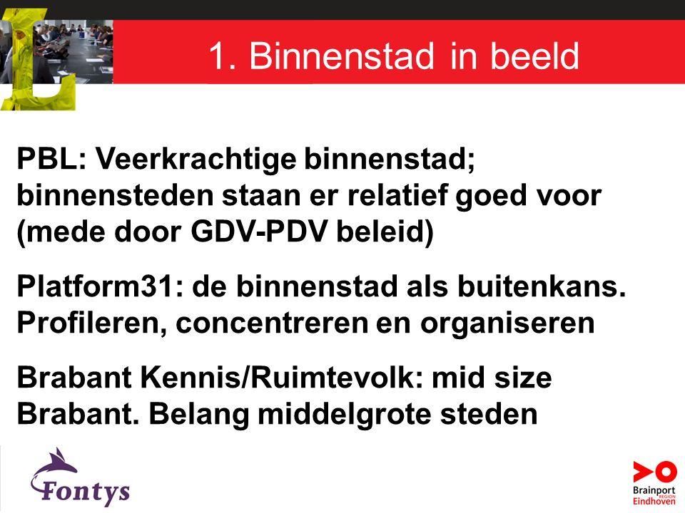 PBL: Veerkrachtige binnenstad; binnensteden staan er relatief goed voor (mede door GDV-PDV beleid) Platform31: de binnenstad als buitenkans.