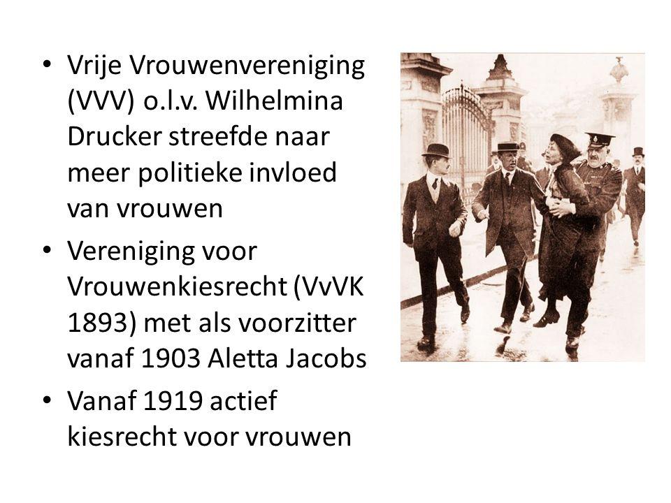 Vrije Vrouwenvereniging (VVV) o.l.v. Wilhelmina Drucker streefde naar meer politieke invloed van vrouwen Vereniging voor Vrouwenkiesrecht (VvVK 1893)