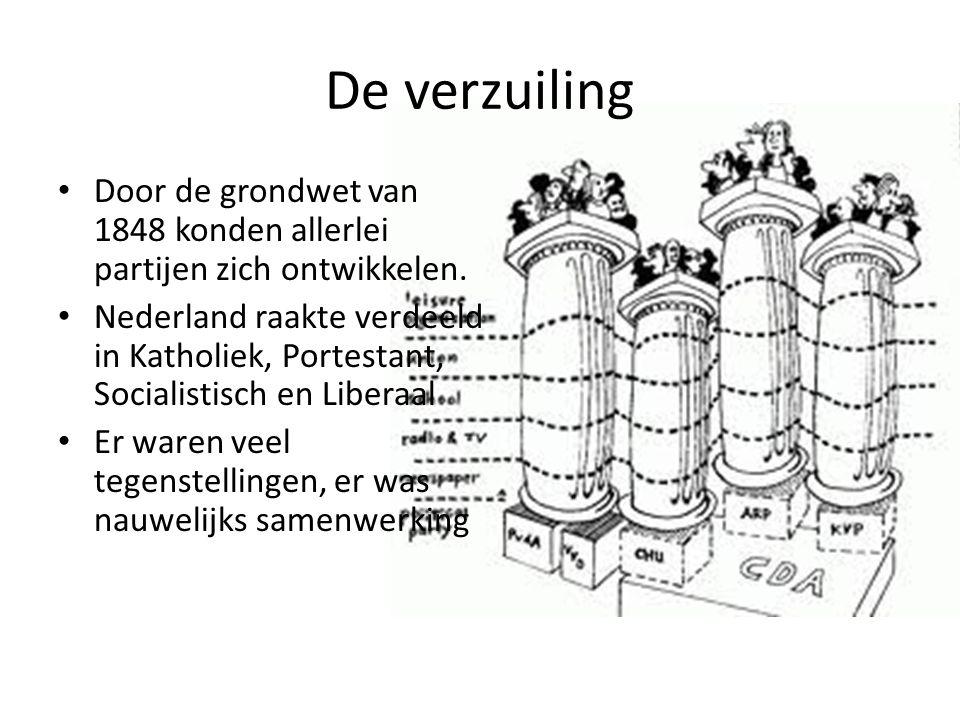 De verzuiling Door de grondwet van 1848 konden allerlei partijen zich ontwikkelen. Nederland raakte verdeeld in Katholiek, Portestant, Socialistisch e