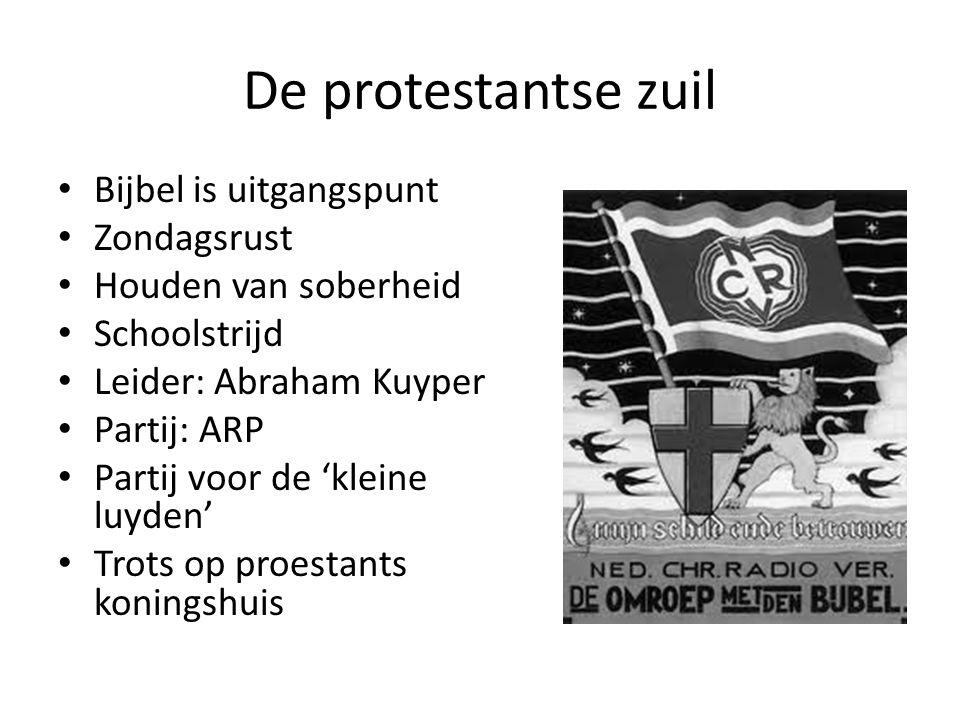 De protestantse zuil Bijbel is uitgangspunt Zondagsrust Houden van soberheid Schoolstrijd Leider: Abraham Kuyper Partij: ARP Partij voor de 'kleine lu