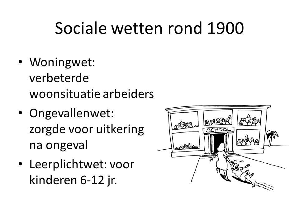 Sociale wetten rond 1900 Woningwet: verbeterde woonsituatie arbeiders Ongevallenwet: zorgde voor uitkering na ongeval Leerplichtwet: voor kinderen 6-1