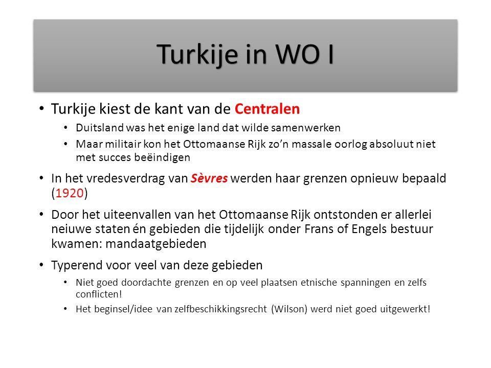Turkije in WO I Turkije kiest de kant van de Centralen Duitsland was het enige land dat wilde samenwerken Maar militair kon het Ottomaanse Rijk zo'n m