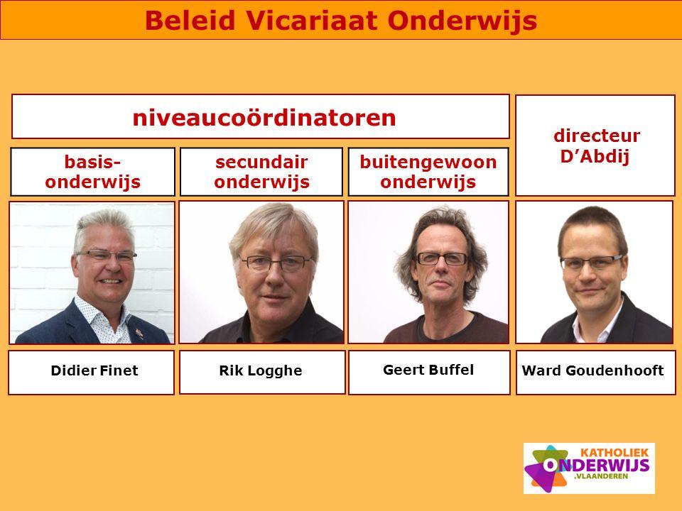 niveaucoördinatoren Geert Buffel Ward Goudenhooft directeur D'Abdij Didier FinetRik Logghe basis- onderwijs secundair onderwijs buitengewoon onderwijs