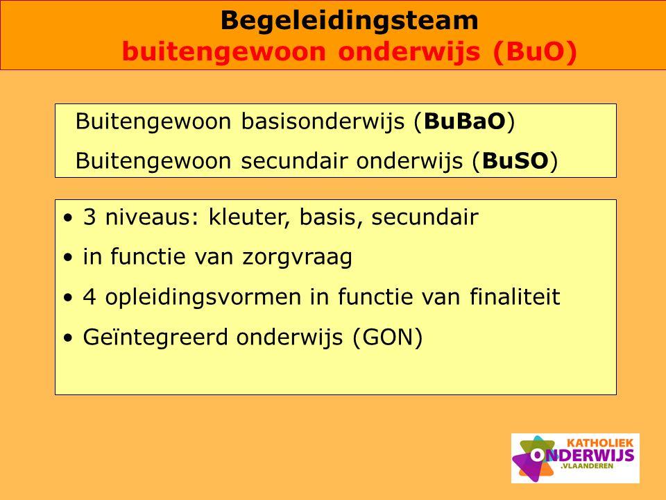 Buitengewoon basisonderwijs (BuBaO) Buitengewoon secundair onderwijs (BuSO) 3 niveaus: kleuter, basis, secundair in functie van zorgvraag 4 opleidings