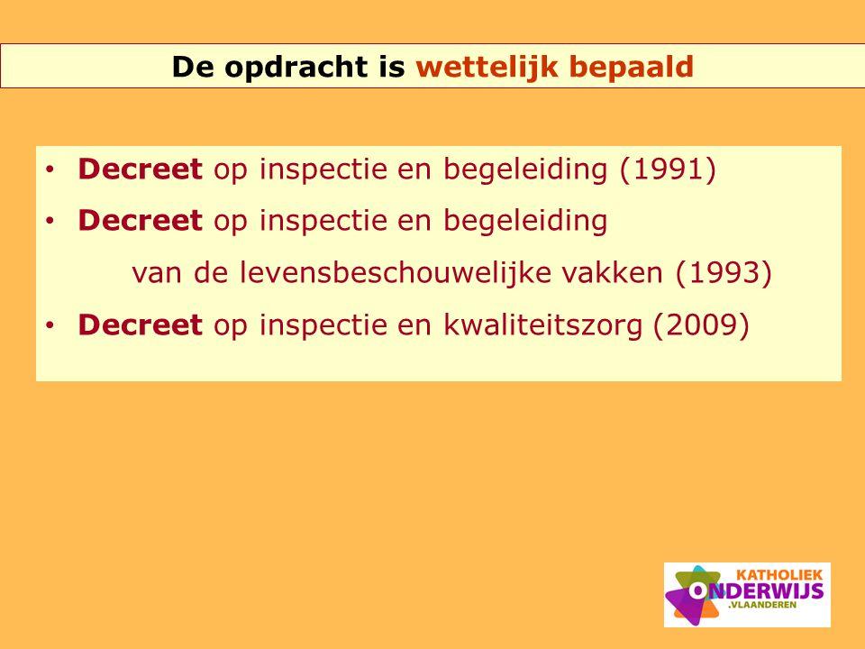 De opdracht is wettelijk bepaald Decreet op inspectie en begeleiding (1991) Decreet op inspectie en begeleiding van de levensbeschouwelijke vakken (19