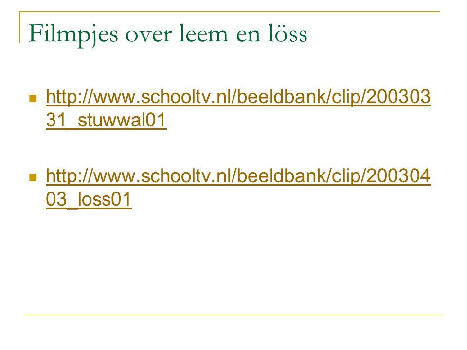 Filmpjes over leem en löss http://www.schooltv.nl/beeldbank/clip/200303 31_stuwwal01 http://www.schooltv.nl/beeldbank/clip/200303 31_stuwwal01 http://www.schooltv.nl/beeldbank/clip/200304 03_loss01 http://www.schooltv.nl/beeldbank/clip/200304 03_loss01