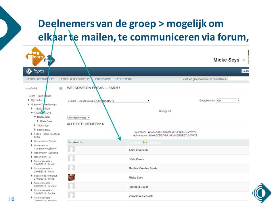 10 Deelnemers van de groep > mogelijk om elkaar te mailen, te communiceren via forum, …
