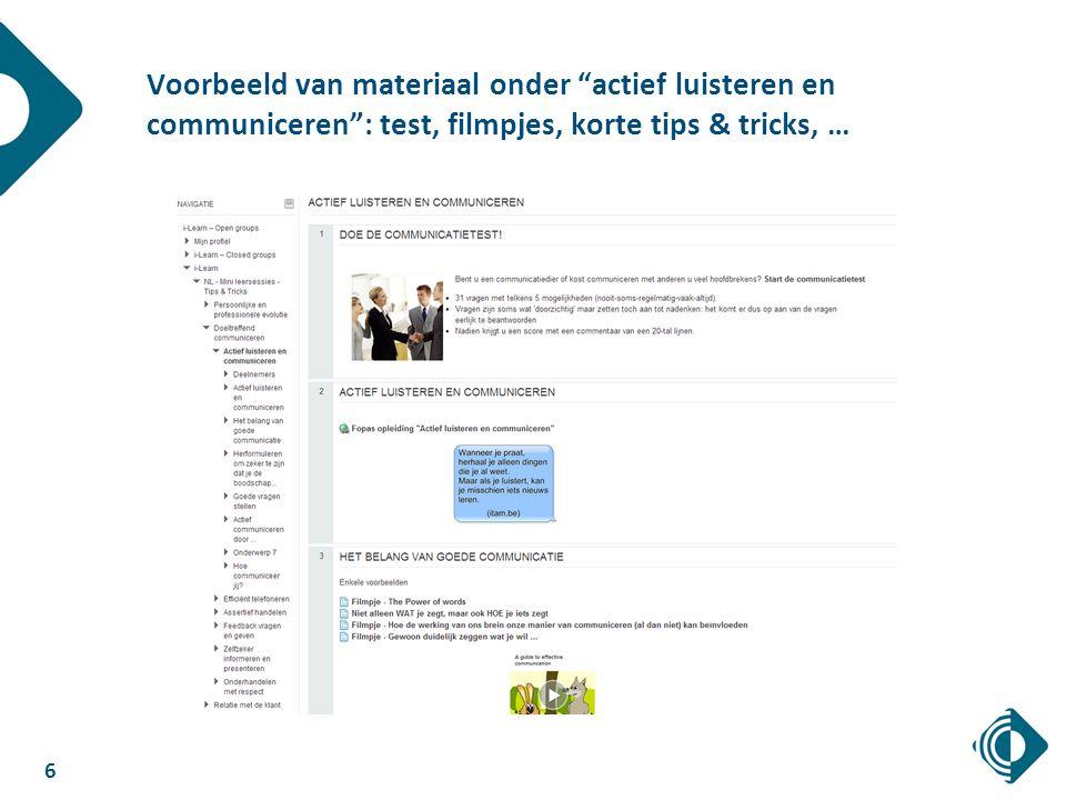 6 Voorbeeld van materiaal onder actief luisteren en communiceren : test, filmpjes, korte tips & tricks, …