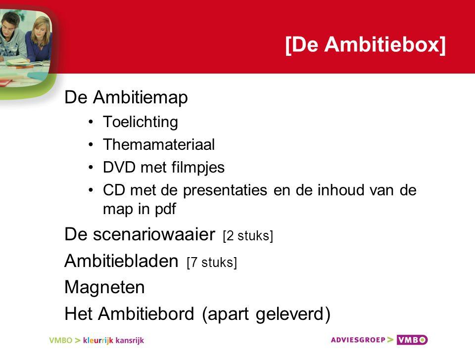 [De Ambitiebox] De Ambitiemap Toelichting Themamateriaal DVD met filmpjes CD met de presentaties en de inhoud van de map in pdf De scenariowaaier [2 stuks] Ambitiebladen [7 stuks] Magneten Het Ambitiebord (apart geleverd)
