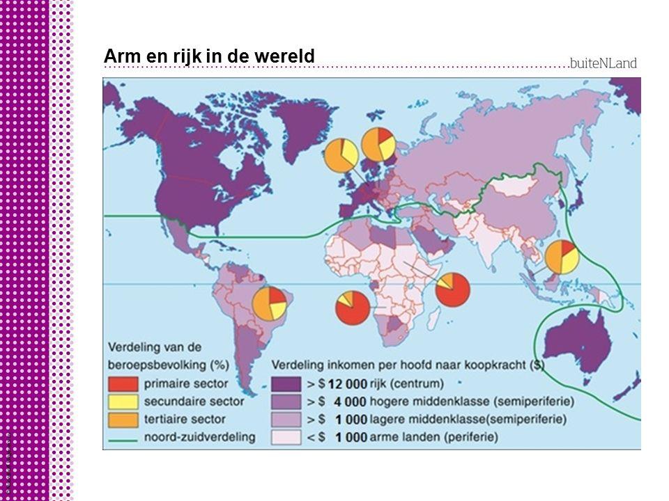 Arm en rijk in de wereld Op basis van welvaart en welzijn wereld verdelen in vier groepen als je kijkt naar bnp/pp: hoge inkomenslanden hoge-middenink