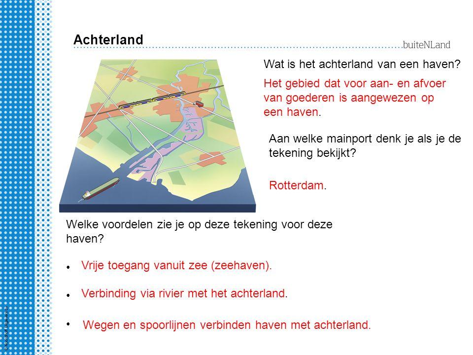 Achterland Wat is het achterland van een haven? Het gebied dat voor aan- en afvoer van goederen is aangewezen op een haven. Welke voordelen zie je op