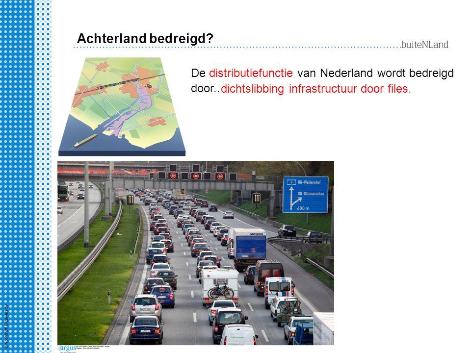 De distributiefunctie van Nederland wordt bedreigd door.. dichtslibbing infrastructuur door files. Achterland bedreigd?