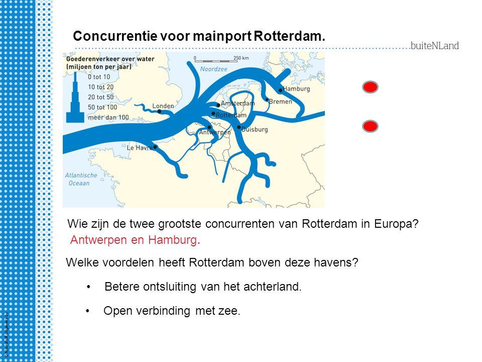 Wie zijn de twee grootste concurrenten van Rotterdam in Europa? Antwerpen en Hamburg. Welke voordelen heeft Rotterdam boven deze havens? Open verbindi