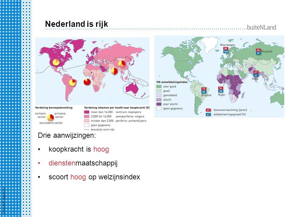 Drie aanwijzingen: koopkracht is hoog dienstenmaatschappij scoort hoog op welzijnsindex Nederland is rijk