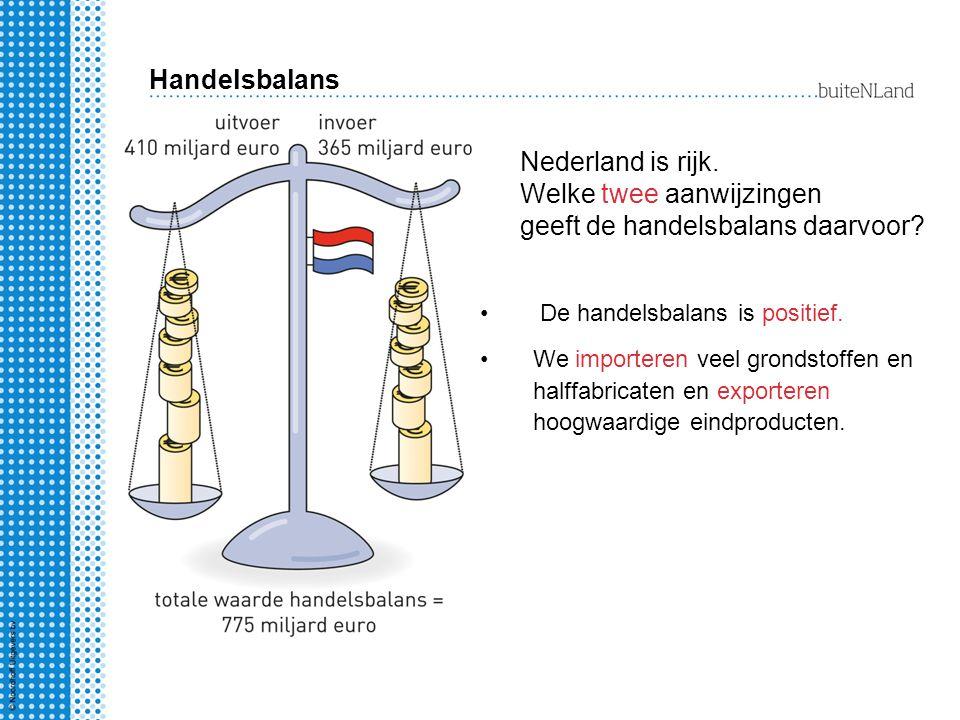 Nederland is rijk. Welke twee aanwijzingen geeft de handelsbalans daarvoor? De handelsbalans is positief. We importeren veel grondstoffen en halffabri