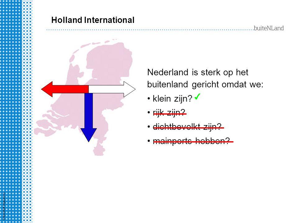 Nederland is sterk op het buitenland gericht omdat we: klein zijn? rijk zijn? dichtbevolkt zijn? mainports hebben? Holland International ✔
