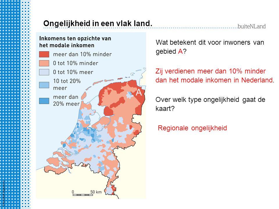 Ongelijkheid in een vlak land. A Wat betekent dit voor inwoners van gebied A? Zij verdienen meer dan 10% minder dan het modale inkomen in Nederland. O