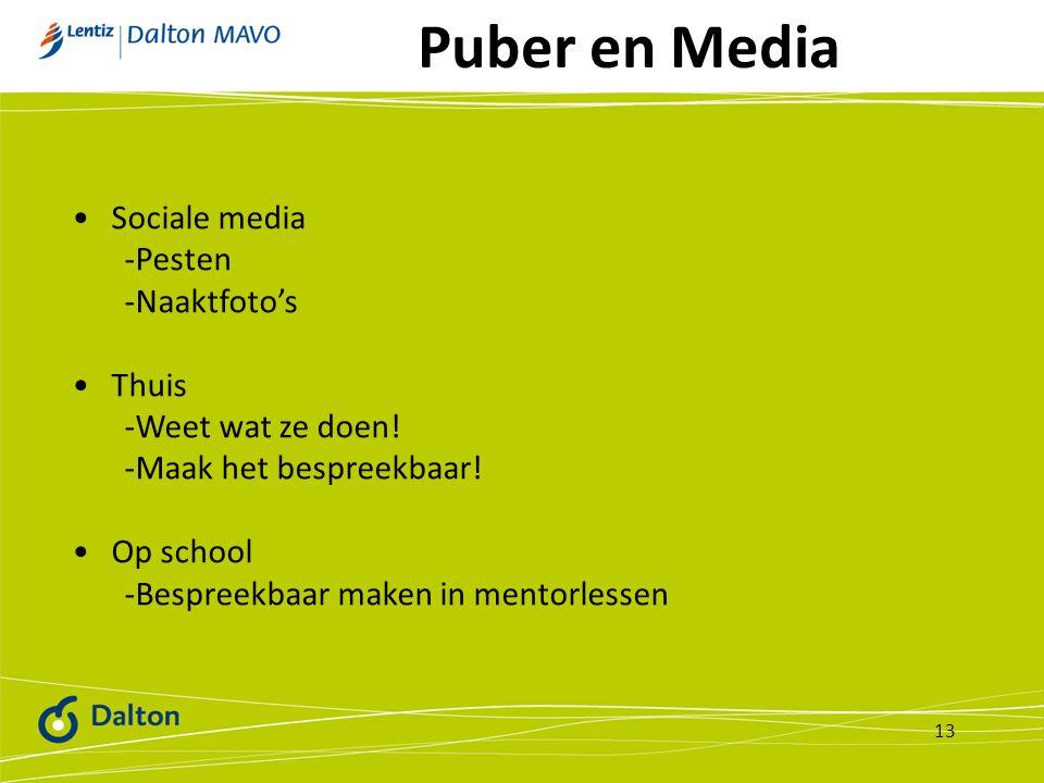 Puber en Media 13 Sociale media -Pesten -Naaktfoto's Thuis -Weet wat ze doen! -Maak het bespreekbaar! Op school -Bespreekbaar maken in mentorlessen